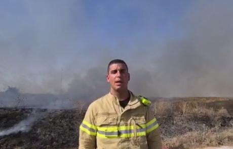 שריפת קוצים גדולה במחלף אייל – צינורות גז טבעי ממוקמים בשטח